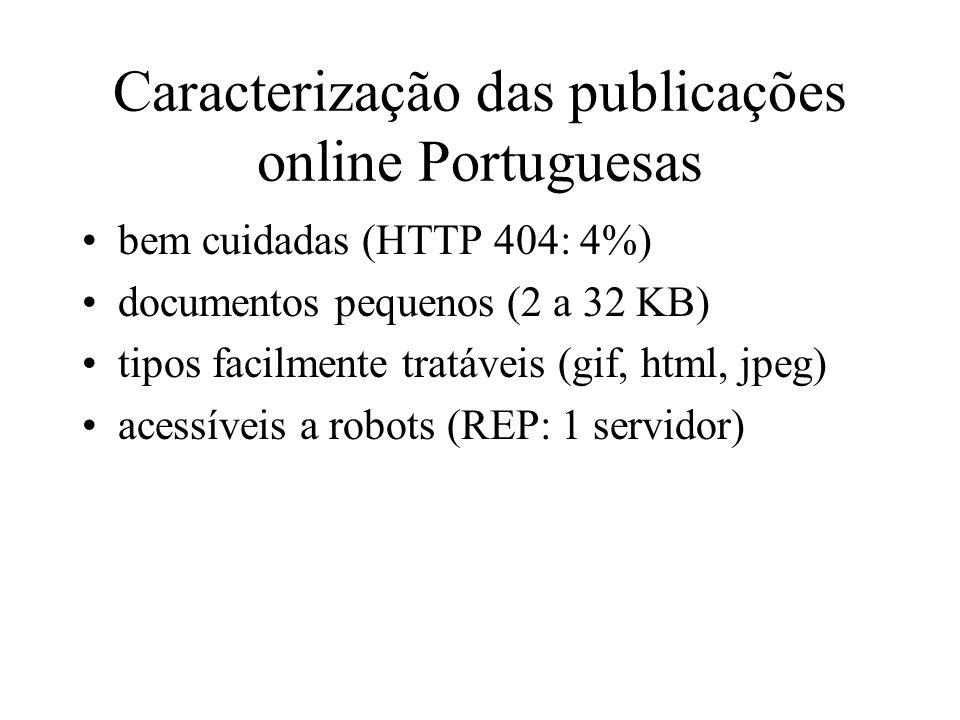 Caracterização das publicações online Portuguesas bem cuidadas (HTTP 404: 4%) documentos pequenos (2 a 32 KB) tipos facilmente tratáveis (gif, html, jpeg) acessíveis a robots (REP: 1 servidor)
