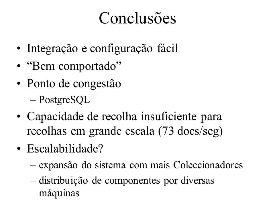 Conclusões Integração e configuração fácil Bem comportado Ponto de congestão –PostgreSQL Capacidade de recolha insuficiente para recolhas em grande escala (73 docs/seg) Escalabilidade.