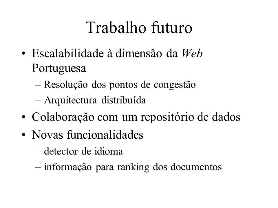 Trabalho futuro Escalabilidade à dimensão da Web Portuguesa –Resolução dos pontos de congestão –Arquitectura distribuída Colaboração com um repositóri