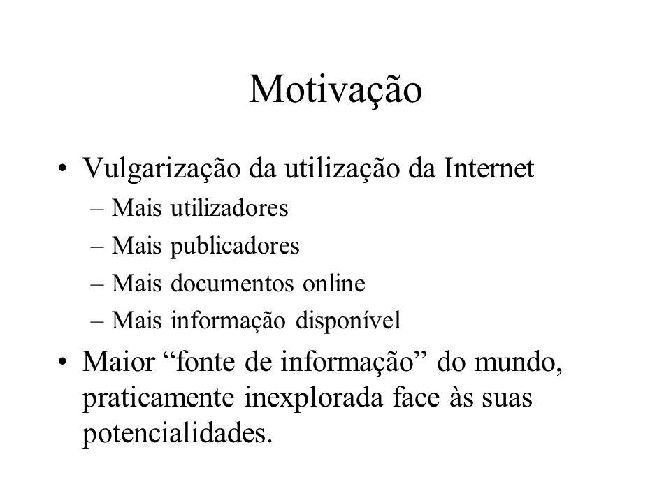 Motivação Vulgarização da utilização da Internet –Mais utilizadores –Mais publicadores –Mais documentos online –Mais informação disponível Maior fonte
