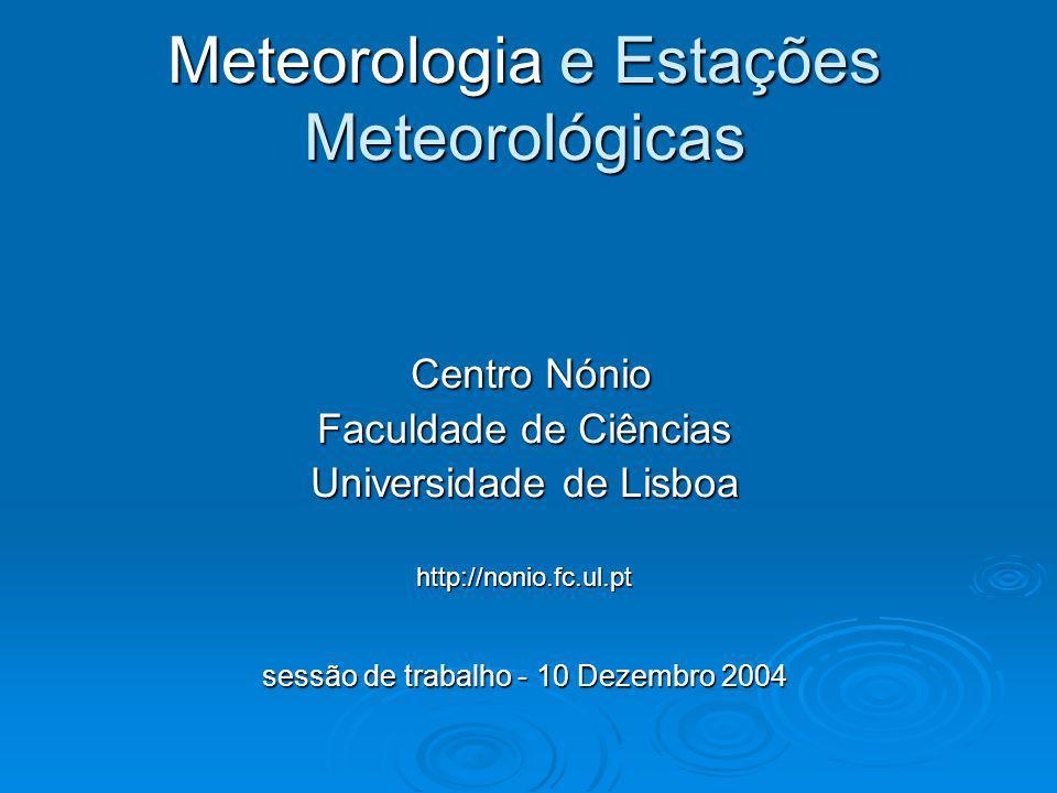 Meteorologia e Estações Meteorológicas Plano da sessão de trabalho 14hIntrodução.