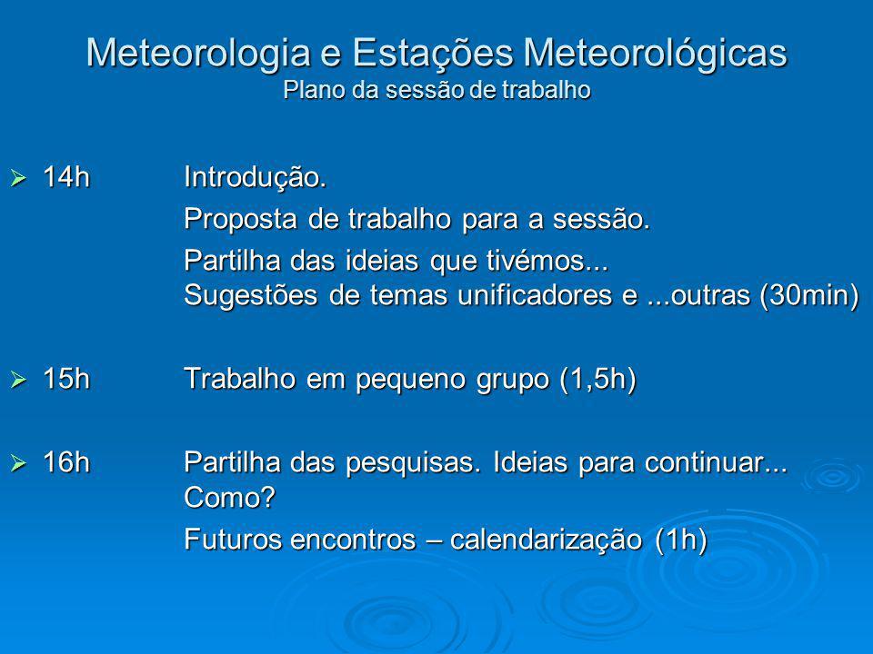 Meteorologia e Estações Meteorológicas Plano da sessão de trabalho 14hIntrodução. 14hIntrodução. Proposta de trabalho para a sessão. Partilha das idei