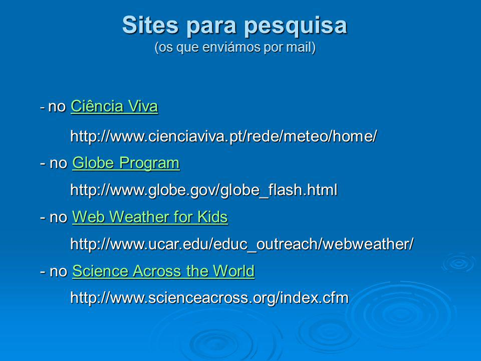 Sites para pesquisa (os que enviámos por mail) - no Ciência Viva Ciência VivaCiência Vivahttp://www.cienciaviva.pt/rede/meteo/home/ - no Globe Program
