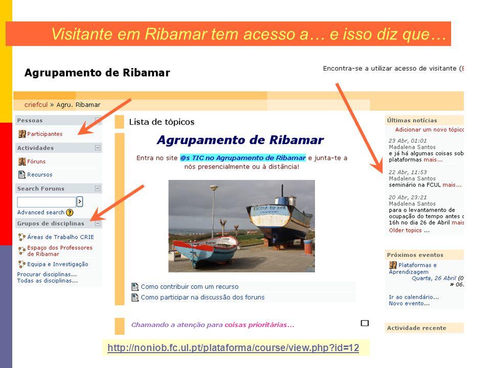 Visitante em Ribamar tem acesso a… e isso diz que… http://noniob.fc.ul.pt/plataforma/course/view.php id=12