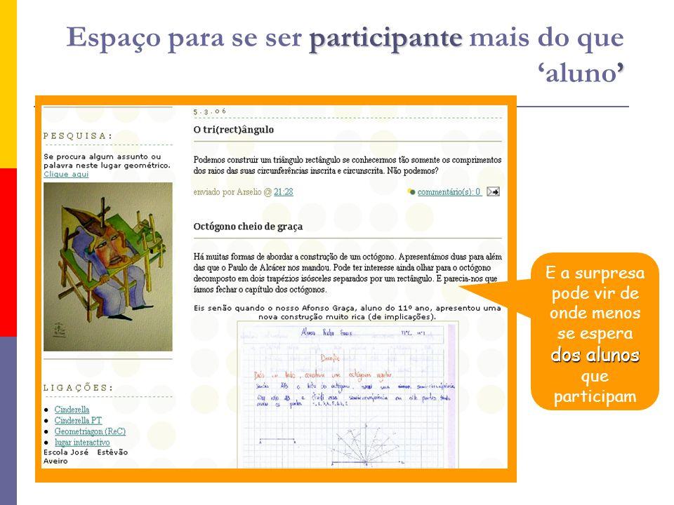 participante Espaço para se ser participante mais do que aluno dos alunos E a surpresa pode vir de onde menos se espera dos alunos que participam