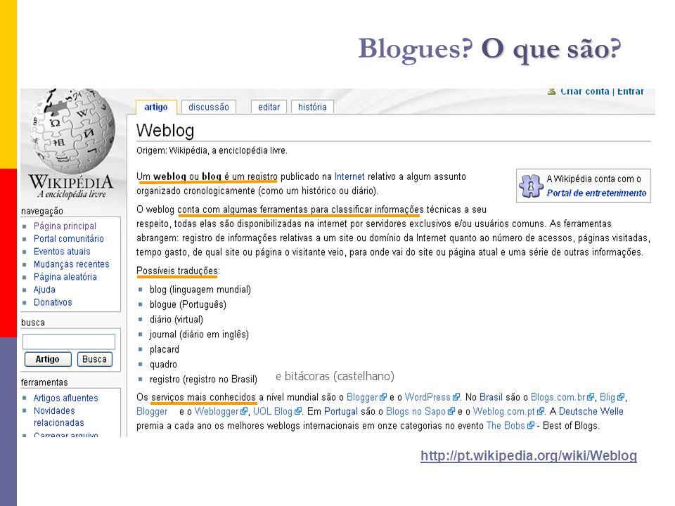 http://pt.wikipedia.org/wiki/Weblog O que são Blogues O que são e bitácoras (castelhano)