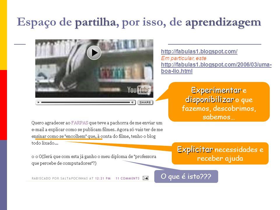 partilhaaprendizagem Espaço de partilha, por isso, de aprendizagem http://fabulas1.blogspot.com/ Em particular, este http://fabulas1.blogspot.com/2006/03/uma- boa-lio.html Explicitar Explicitar necessidades e receber ajuda O que é isto .