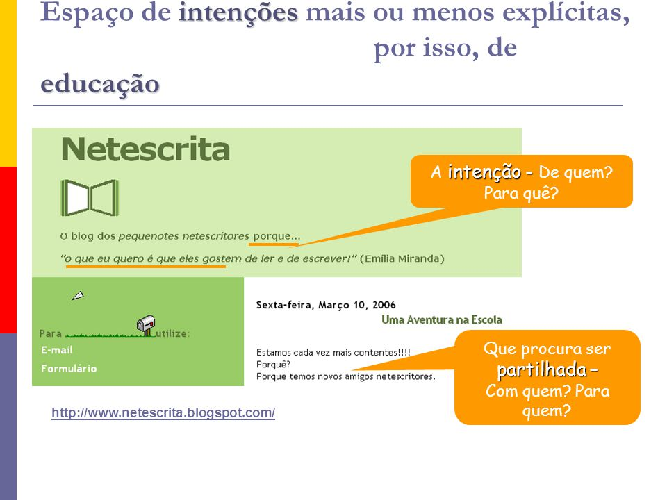 intenções educação Espaço de intenções mais ou menos explícitas, por isso, de educação http://www.netescrita.blogspot.com/ intenção - A intenção - De quem.