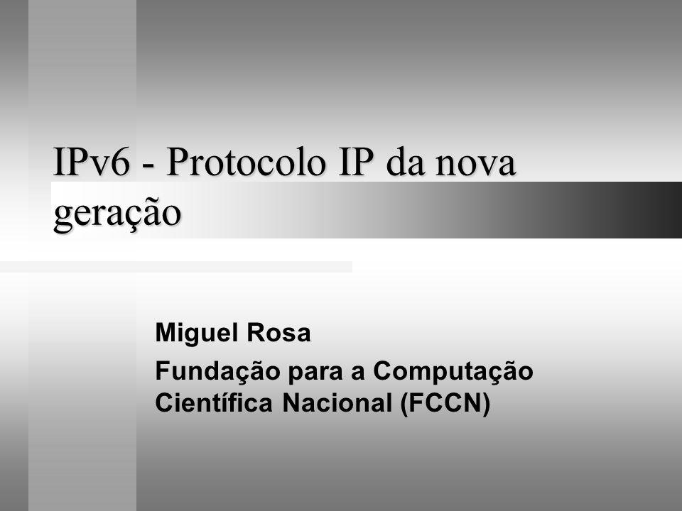 Porquê o IPv6 Problemas Crescimento rápido da Internet Novas tecnologias Internet = rede lenta Arquitectura IPv4 obsoleta Soluções CIDR VPNs e NAT IPng
