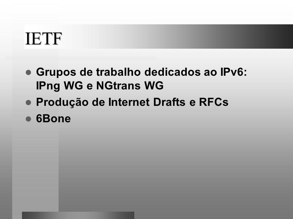 IETF Grupos de trabalho dedicados ao IPv6: IPng WG e NGtrans WG Produção de Internet Drafts e RFCs 6Bone