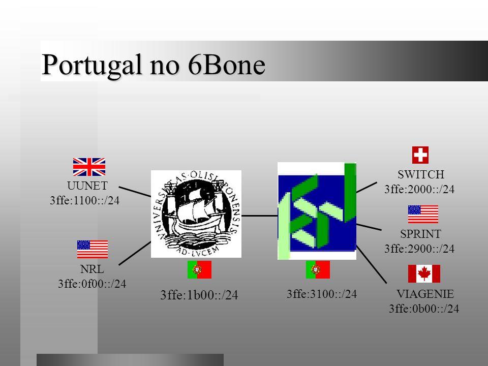 Portugal no 6Bone UUNET 3ffe:1100::/24 3ffe:3100::/24 3ffe:1b00::/24 SWITCH 3ffe:2000::/24 VIAGENIE 3ffe:0b00::/24 SPRINT 3ffe:2900::/24 NRL 3ffe:0f00