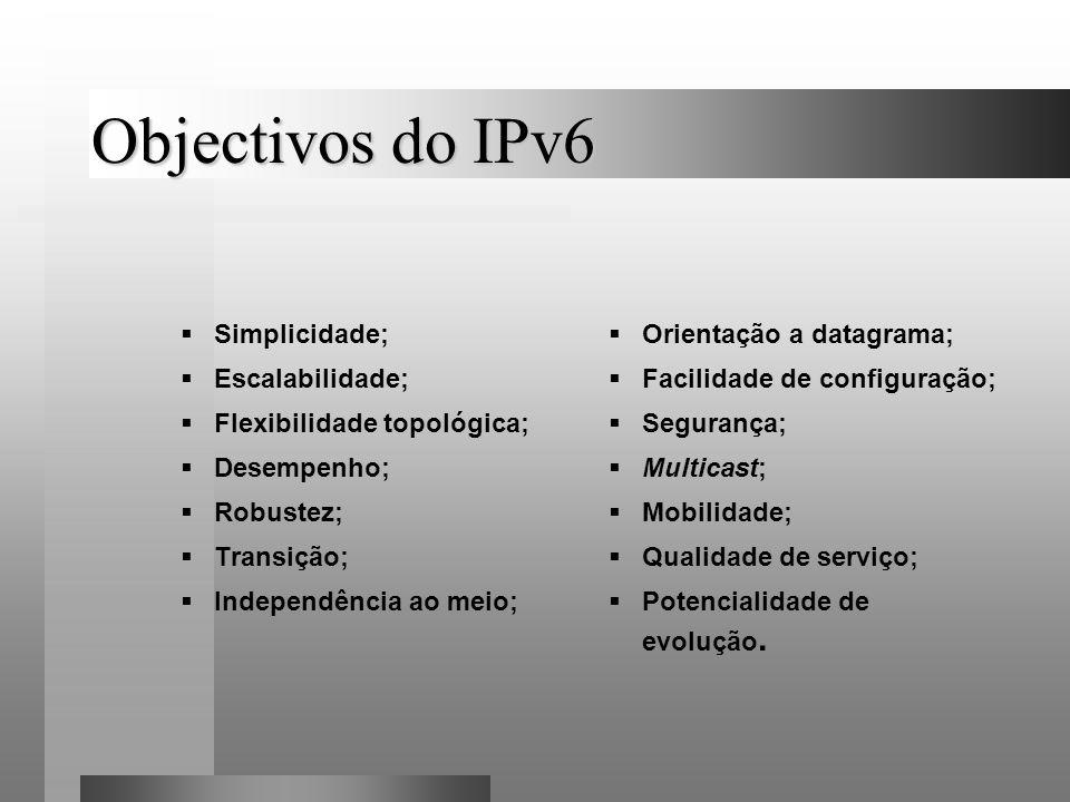 Objectivos do IPv6 Simplicidade; Escalabilidade; Flexibilidade topológica; Desempenho; Robustez; Transição; Independência ao meio; Orientação a datagr