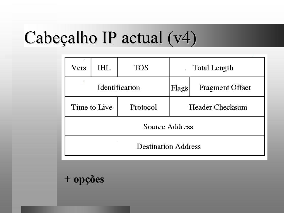 Cabeçalhos de opção Opções: nó-a-nó opções de destino fragmentação encaminhamento autenticação cifração