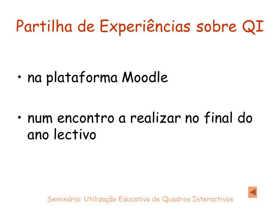 Partilha de Experiências sobre QI na plataforma Moodle num encontro a realizar no final do ano lectivo Seminário: Utilização Educativa de Quadros Interactivos
