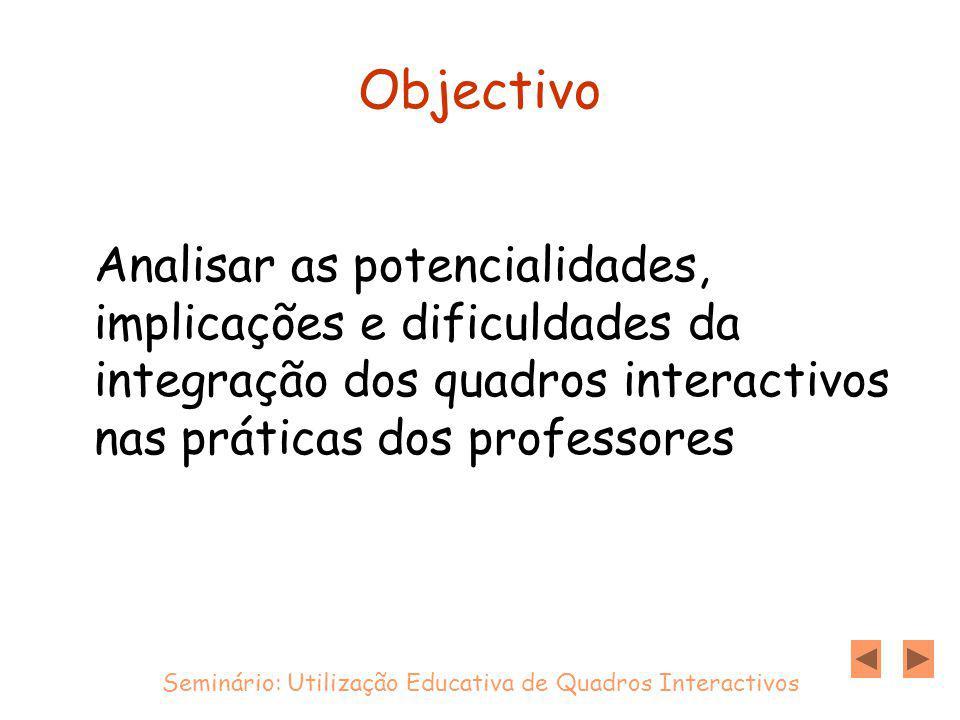 Objectivo Analisar as potencialidades, implicações e dificuldades da integração dos quadros interactivos nas práticas dos professores Seminário: Utilização Educativa de Quadros Interactivos