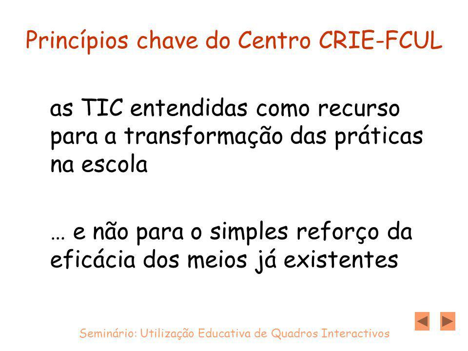 Princípios chave do Centro CRIE-FCUL as TIC entendidas como recurso para a transformação das práticas na escola … e não para o simples reforço da eficácia dos meios já existentes Seminário: Utilização Educativa de Quadros Interactivos