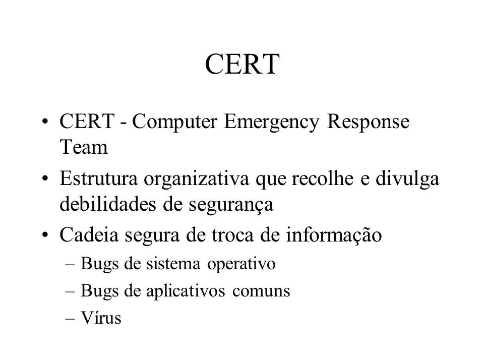 CERT CERT - Computer Emergency Response Team Estrutura organizativa que recolhe e divulga debilidades de segurança Cadeia segura de troca de informaçã