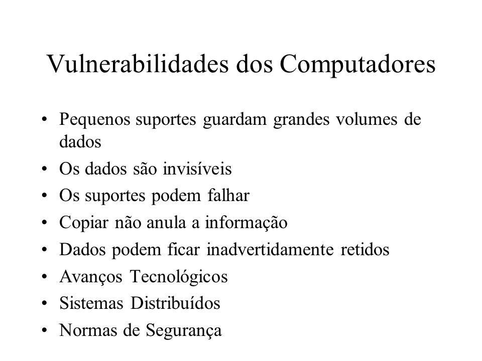 Vulnerabilidades dos Computadores Pequenos suportes guardam grandes volumes de dados Os dados são invisíveis Os suportes podem falhar Copiar não anula