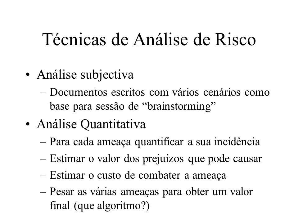 Técnicas de Análise de Risco Análise subjectiva –Documentos escritos com vários cenários como base para sessão de brainstorming Análise Quantitativa –