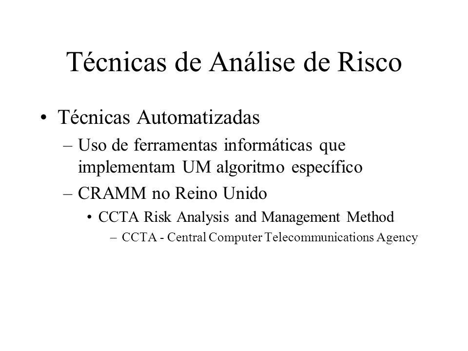 Técnicas de Análise de Risco Técnicas Automatizadas –Uso de ferramentas informáticas que implementam UM algoritmo específico –CRAMM no Reino Unido CCT