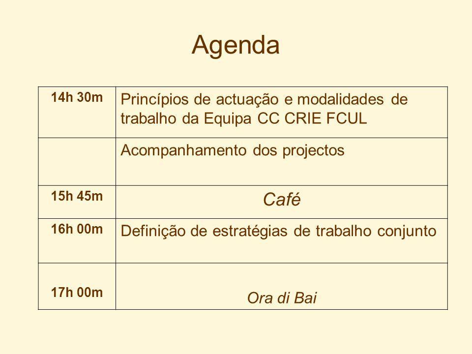 Agenda 14h 30m Princípios de actuação e modalidades de trabalho da Equipa CC CRIE FCUL Acompanhamento dos projectos 15h 45m Café 16h 00m Definição de estratégias de trabalho conjunto 17h 00m Ora di Bai