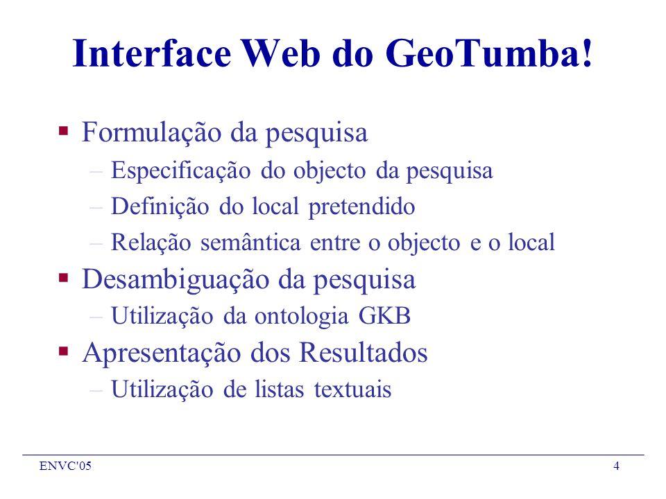 ENVC 054 Interface Web do GeoTumba.