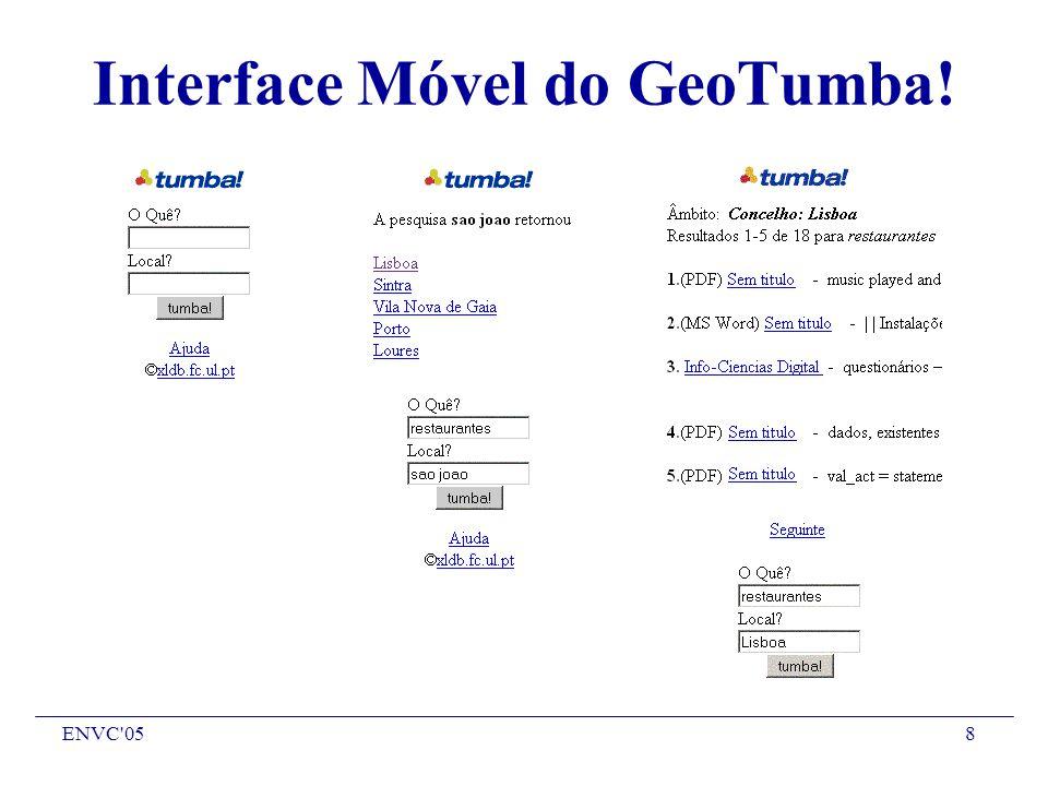 ENVC 058 Interface Móvel do GeoTumba!