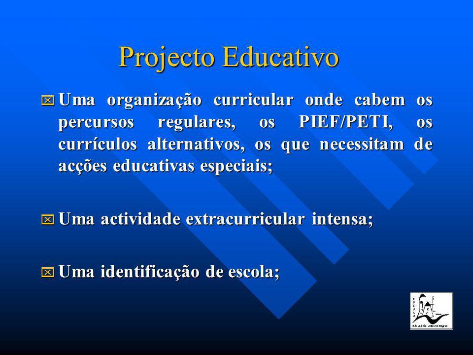 Projecto Educativo Uma organização curricular onde cabem os percursos regulares, os PIEF/PETI, os currículos alternativos, os que necessitam de acções educativas especiais; Uma actividade extracurricular intensa; Uma identificação de escola;