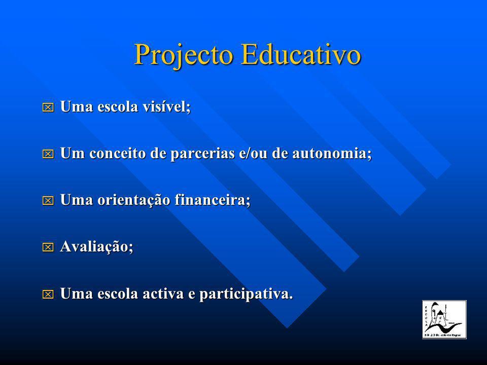 Uma Uma escola visível; Um Um conceito de parcerias e/ou de autonomia; Uma Uma orientação financeira; Avaliação; Avaliação; Uma Uma escola activa e participativa.