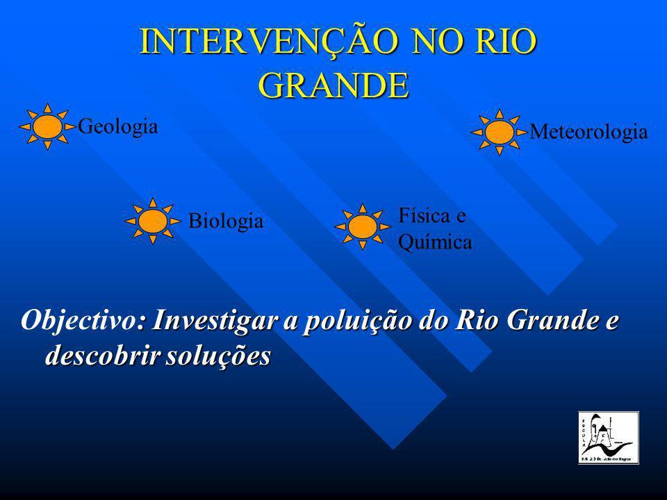 INTERVENÇÃO NO RIO GRANDE INTERVENÇÃO NO RIO GRANDE Geologia Biologia Física e Química Meteorologia : Investigar a poluição do Rio Grande e descobrir soluções Objectivo: Investigar a poluição do Rio Grande e descobrir soluções