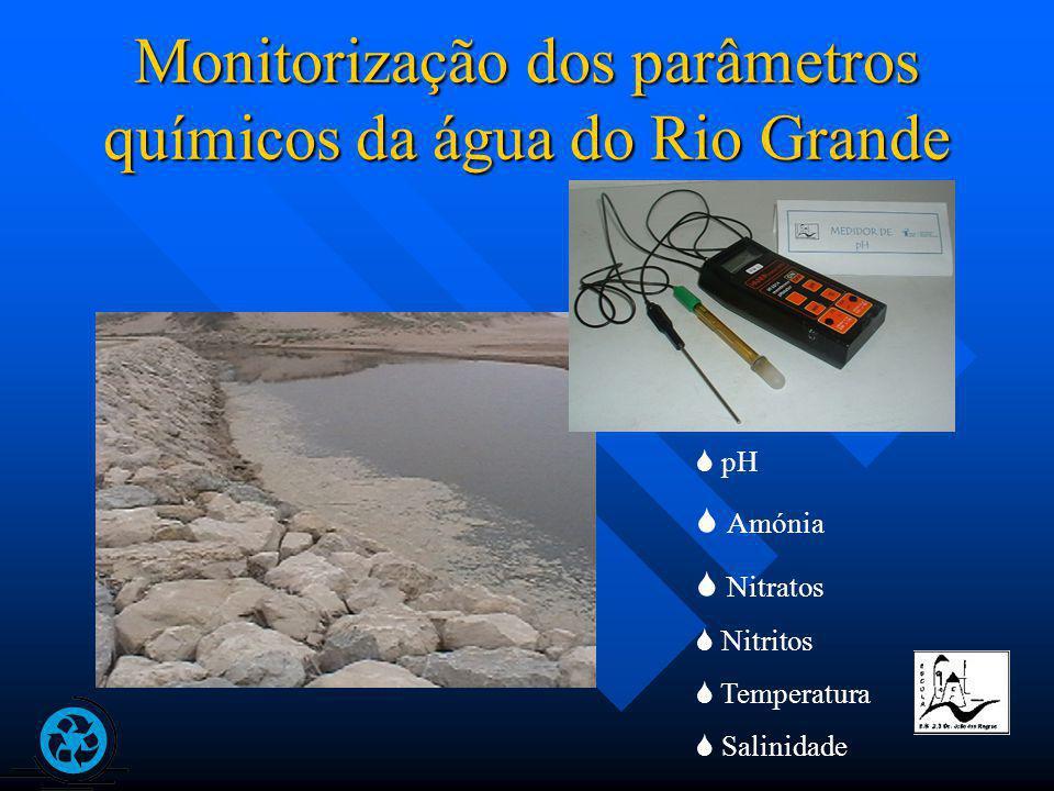 Monitorização dos parâmetros químicos da água do Rio Grande pH Amónia Nitratos Nitritos Temperatura Salinidade