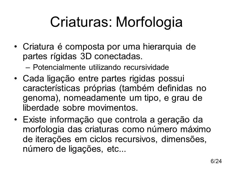 Criaturas: Morfologia Criatura é composta por uma hierarquia de partes rígidas 3D conectadas. –Potencialmente utilizando recursividade Cada ligação en
