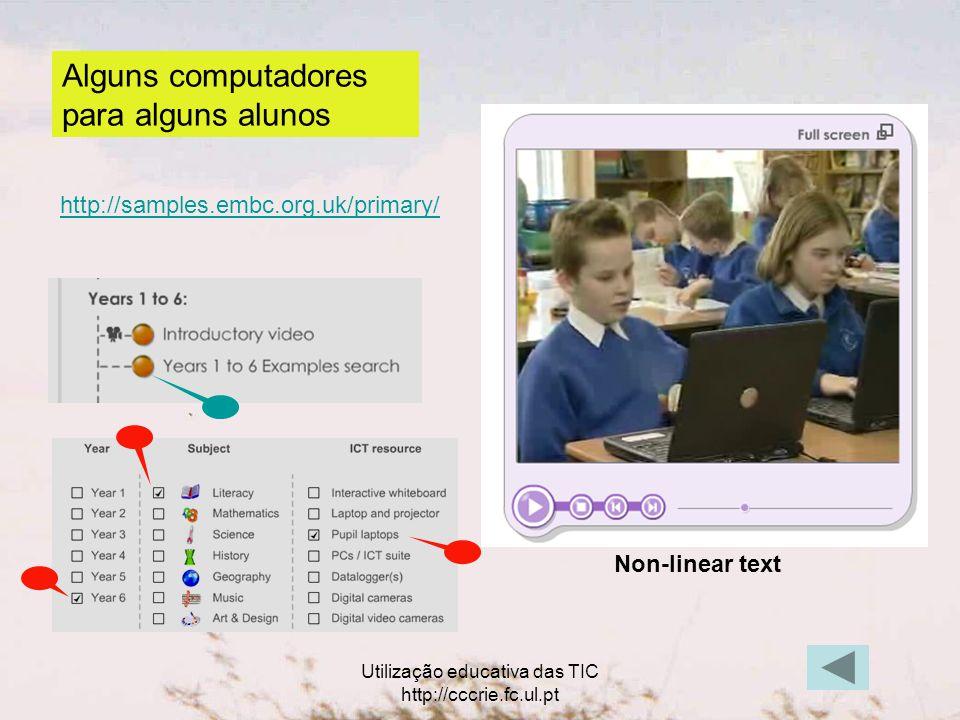 Utilização educativa das TIC http://cccrie.fc.ul.pt Alguns computadores para alguns alunos http://samples.embc.org.uk/primary/ Non-linear text