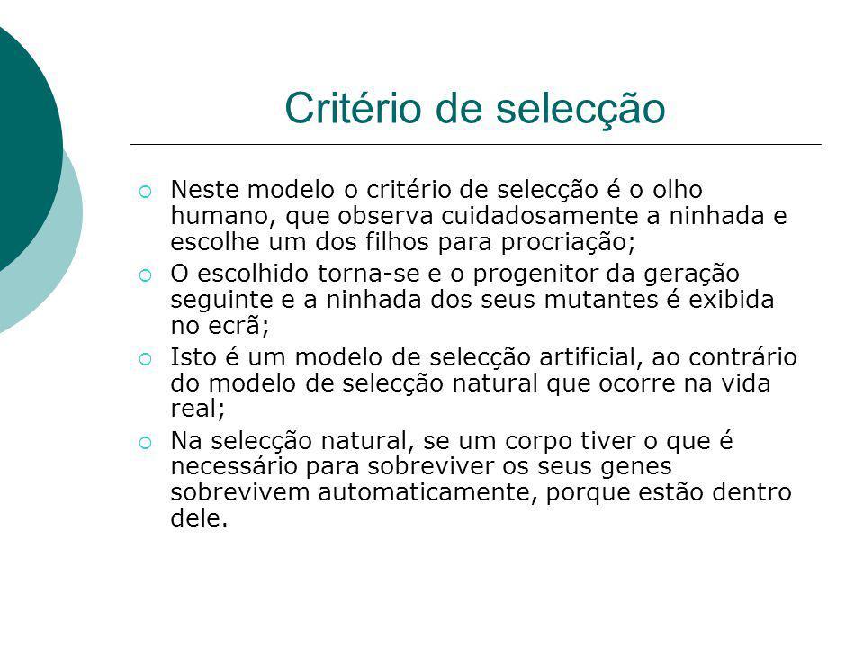 Critério de selecção Neste modelo o critério de selecção é o olho humano, que observa cuidadosamente a ninhada e escolhe um dos filhos para procriação