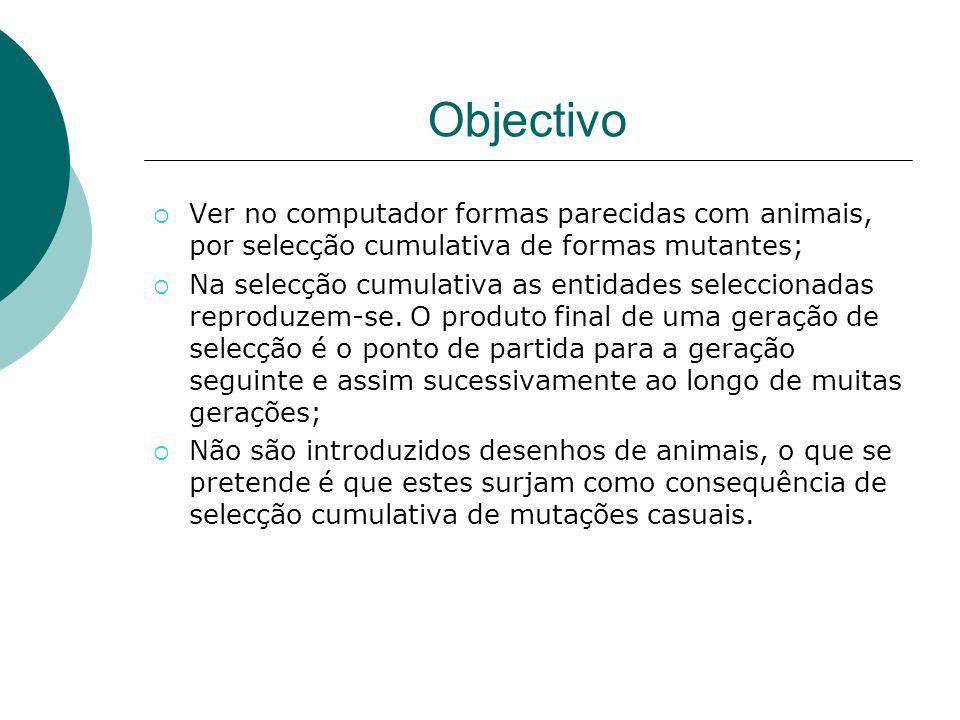 Objectivo Ver no computador formas parecidas com animais, por selecção cumulativa de formas mutantes; Na selecção cumulativa as entidades seleccionada