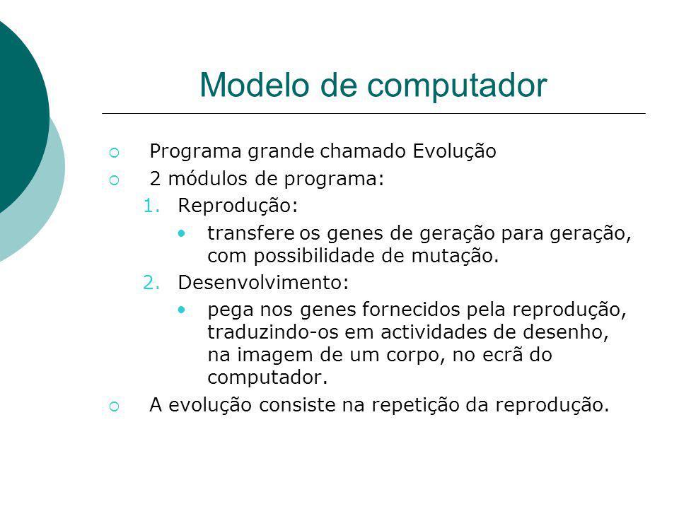 Modelo de computador Programa grande chamado Evolução 2 módulos de programa: 1.Reprodução: transfere os genes de geração para geração, com possibilida