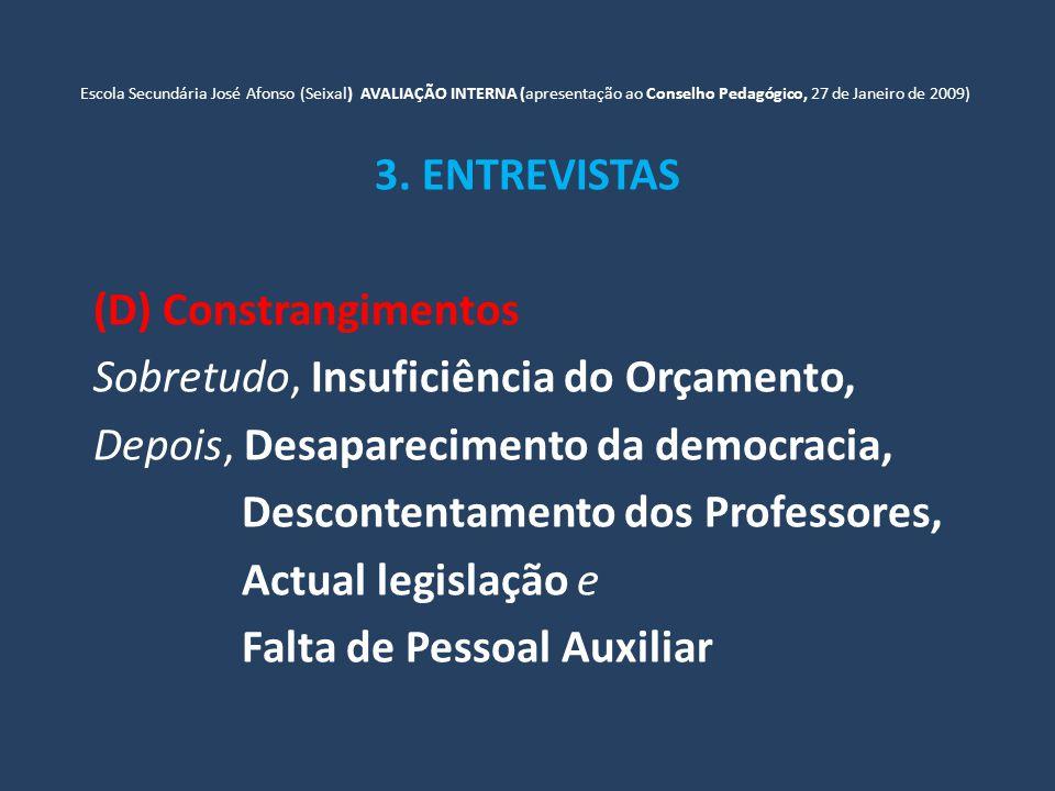 Escola Secundária José Afonso (Seixal) AVALIAÇÃO INTERNA (apresentação ao Conselho Pedagógico, 27 de Janeiro de 2009) 3.