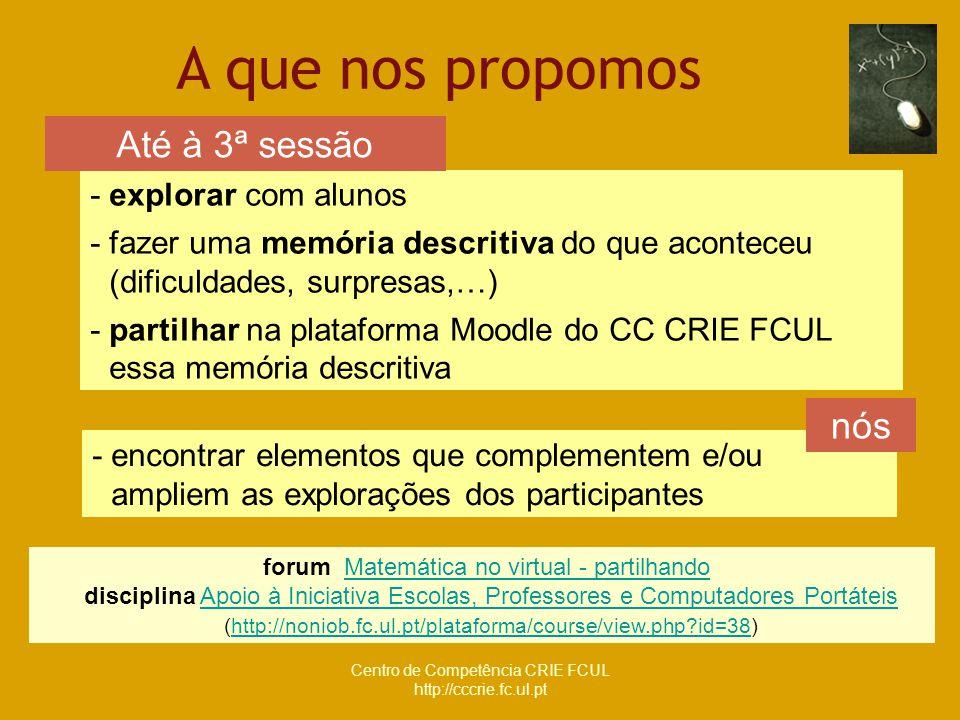 Centro de Competência CRIE FCUL http://cccrie.fc.ul.pt - explorar com alunos - fazer uma memória descritiva do que aconteceu (dificuldades, surpresas,