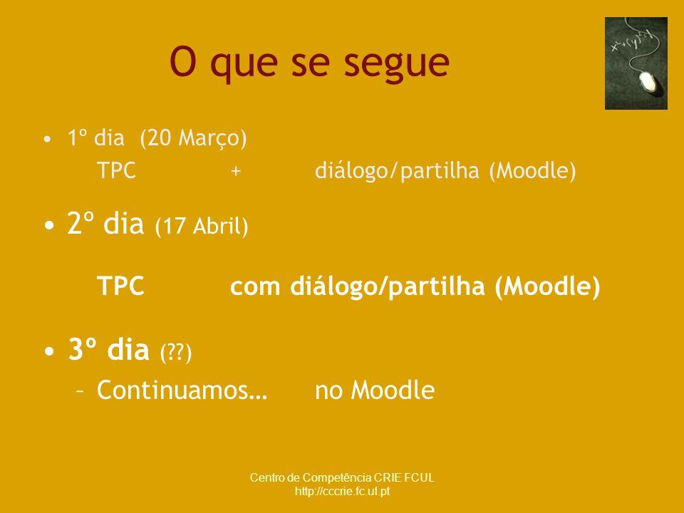 Centro de Competência CRIE FCUL http://cccrie.fc.ul.pt 1º dia (20 Março) TPC + diálogo/partilha (Moodle) 2º dia (17 Abril) TPC com diálogo/partilha (M