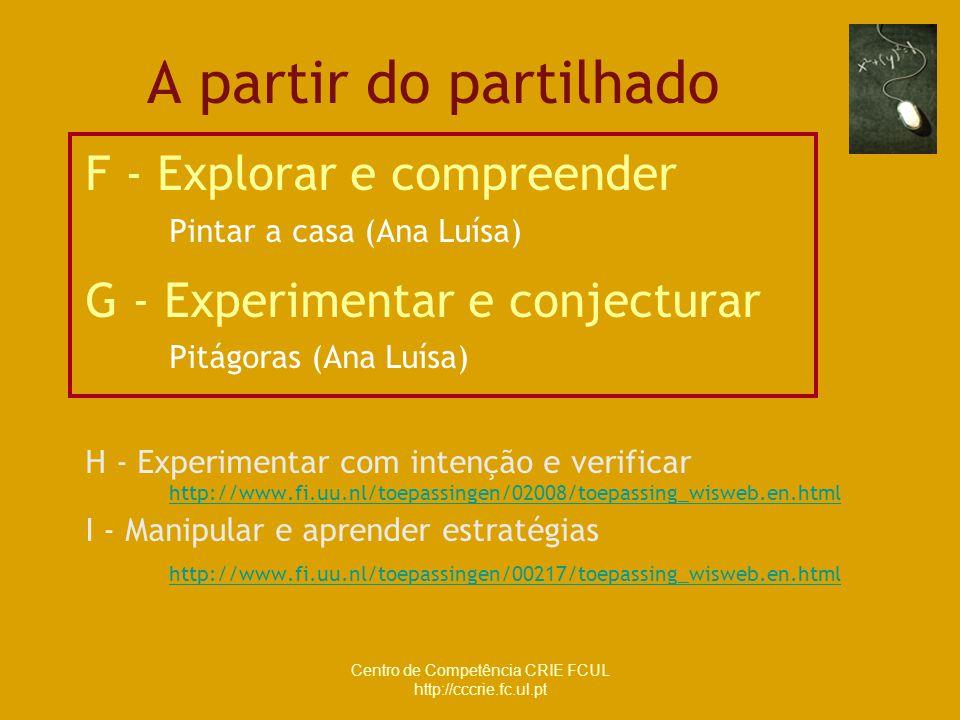 Centro de Competência CRIE FCUL http://cccrie.fc.ul.pt A partir do partilhado F - Explorar e compreender Pintar a casa (Ana Luísa) G - Experimentar e