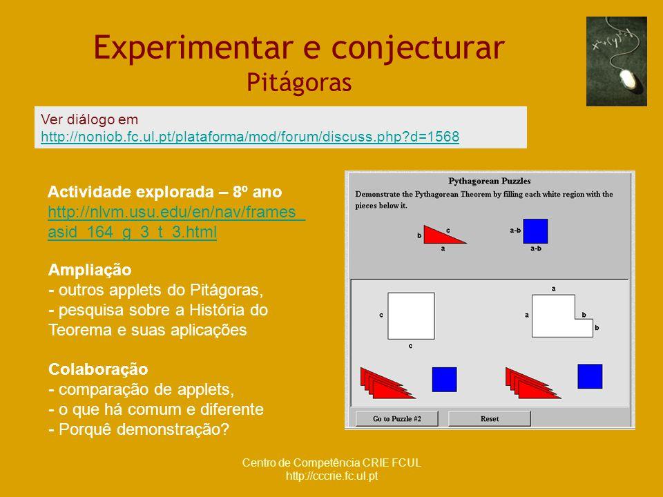 Centro de Competência CRIE FCUL http://cccrie.fc.ul.pt Experimentar e conjecturar Pitágoras Actividade explorada – 8º ano http://nlvm.usu.edu/en/nav/f