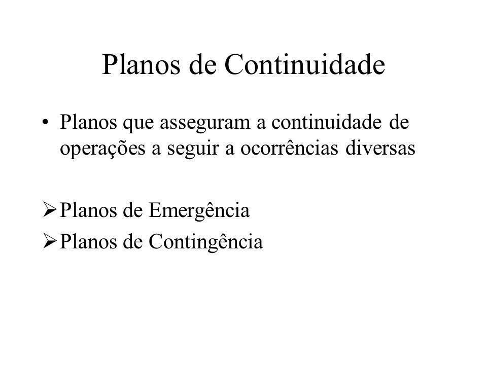 Planos de Continuidade Planos que asseguram a continuidade de operações a seguir a ocorrências diversas Planos de Emergência Planos de Contingência