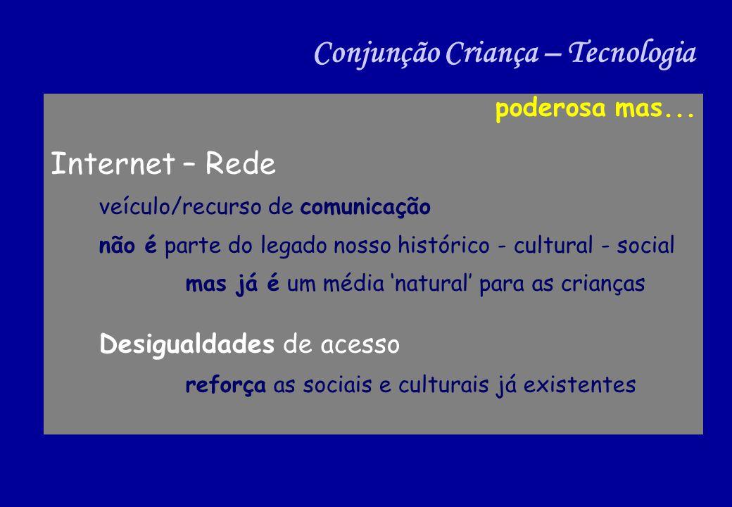 poderosa mas... Internet – Rede veículo/recurso de comunicação não é parte do legado nosso histórico - cultural - social mas já é um média natural par