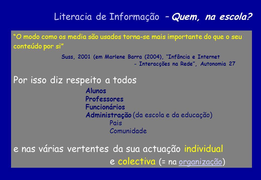 O modo como os media são usados torna-se mais importante do que o seu conteúdo por si Suss, 2001 (em Marlene Barra (2004), Infância e Internet - Inter