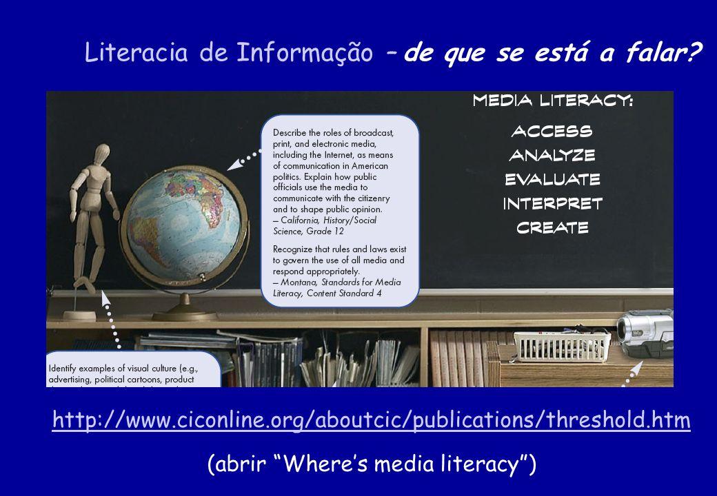 Literacia de Informação – de que se está a falar? http://www.ciconline.org/aboutcic/publications/threshold.htm http://www.ciconline.org/aboutcic/publi