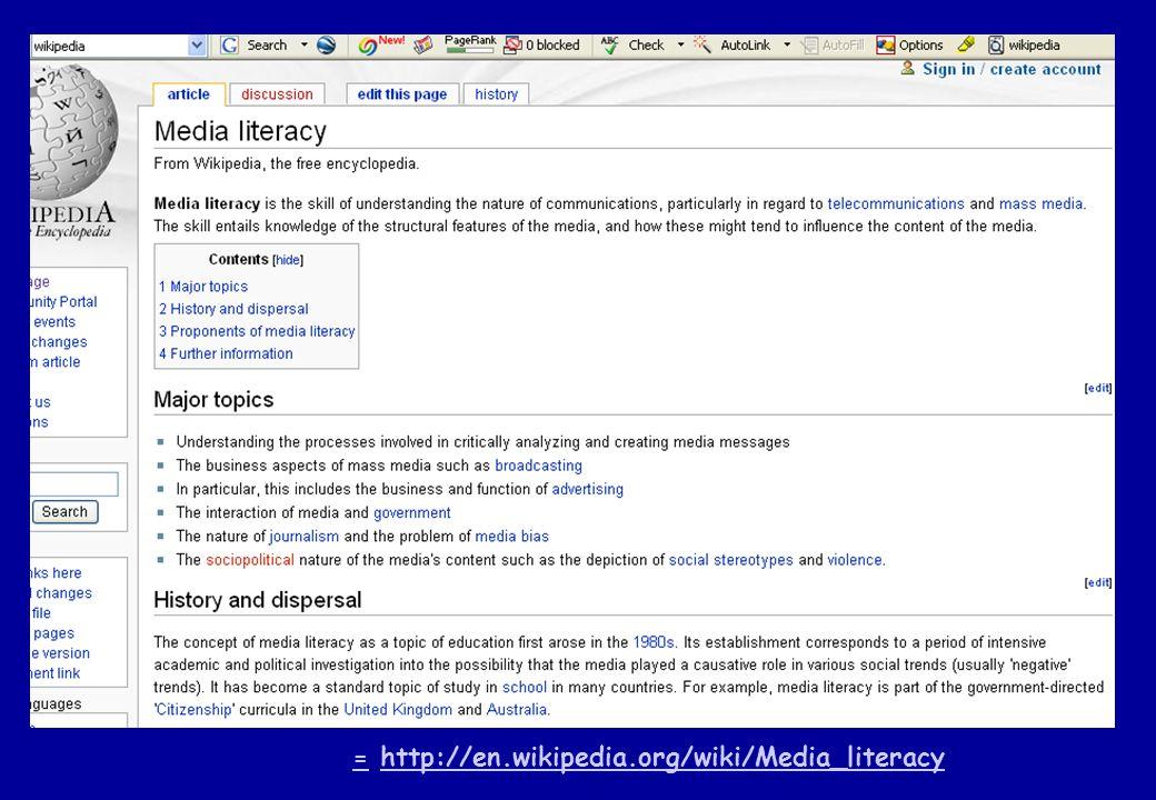 == http://en.wikipedia.org/wiki/Media_literacyhttp://en.wikipedia.org/wiki/Media_literacy