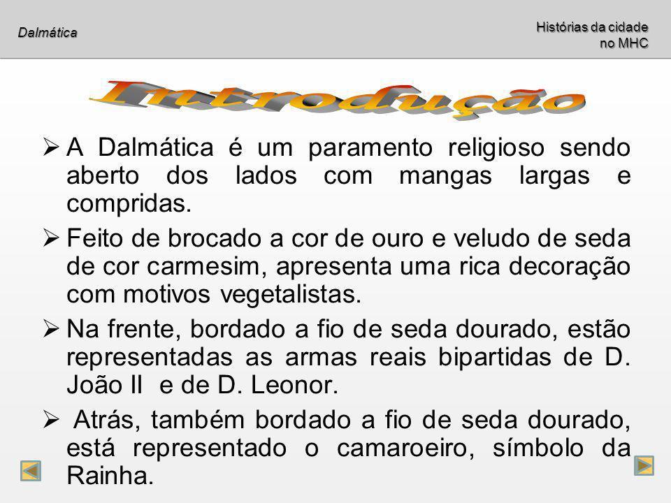 A Dalmática é um paramento religioso sendo aberto dos lados com mangas largas e compridas. Feito de brocado a cor de ouro e veludo de seda de cor carm