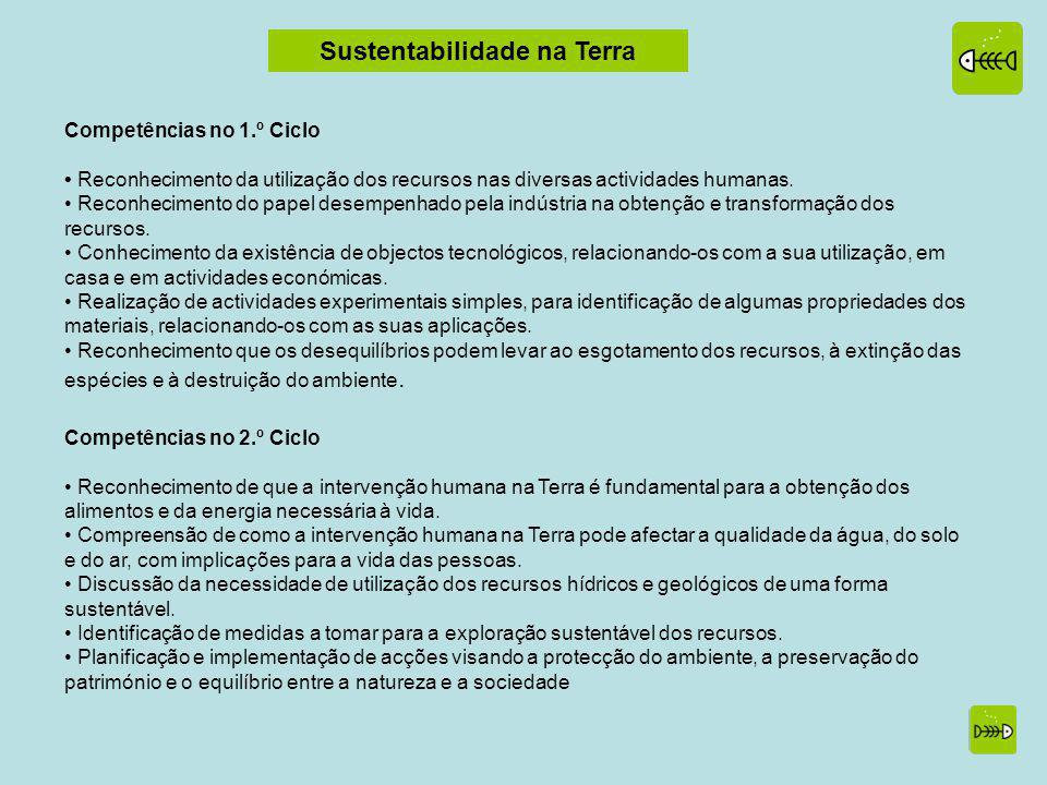 Sustentabilidade na Terra Competências no 1.º Ciclo Reconhecimento da utilização dos recursos nas diversas actividades humanas.