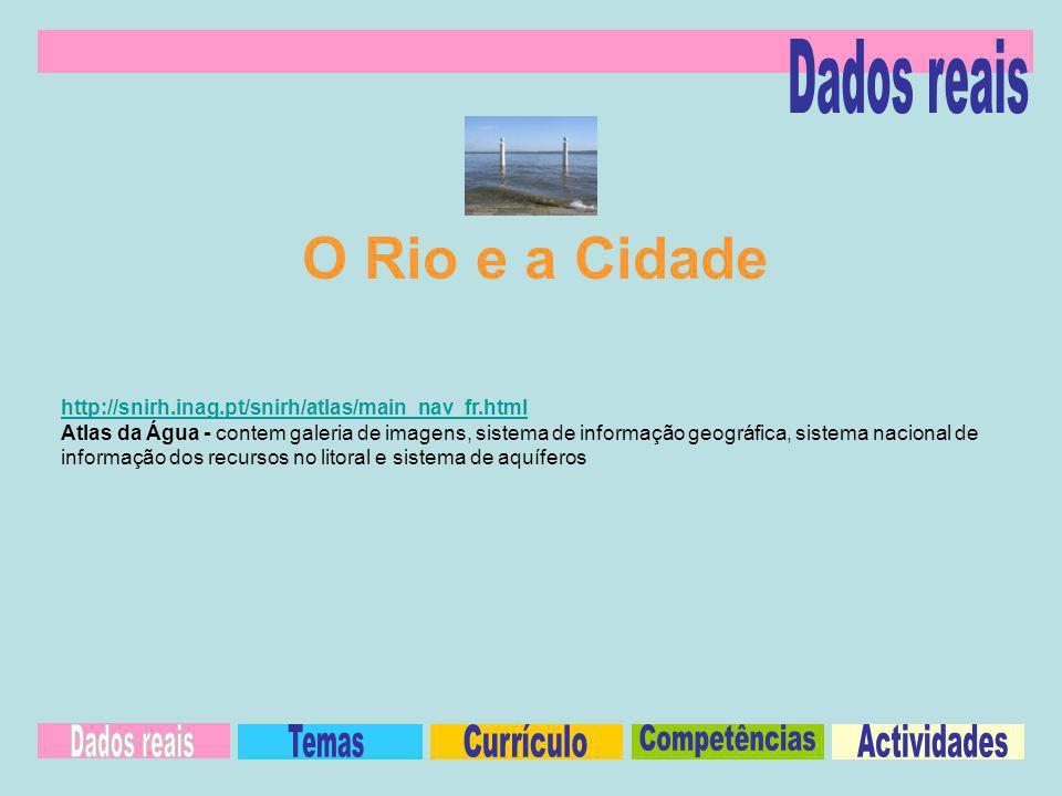 http://snirh.inag.pt/snirh/atlas/main_nav_fr.html Atlas da Água - contem galeria de imagens, sistema de informação geográfica, sistema nacional de informação dos recursos no litoral e sistema de aquíferos O Rio e a Cidade