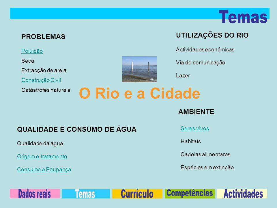 PROBLEMAS UTILIZAÇÕES DO RIO QUALIDADE E CONSUMO DE ÁGUA Poluição Seca Extracção de areia Construção Civil Catástrofes naturais Actividades económicas Via de comunicação Lazer Qualidade da água Origem e tratamento Consumo e Poupança AMBIENTE Seres vivos Habitats Cadeias alimentares Espécies em extinção O Rio e a Cidade